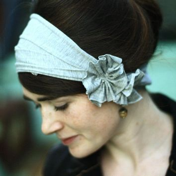 stretch GRAY HEATHER Rosette hair wrap headband by GarlandsOfGrace