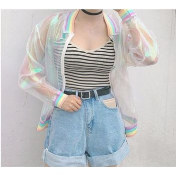 Rainbow Hologram Bomber Jacket