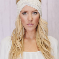 Boho Turban Headband Ivory Cream Stretch Workout Headband (T01)