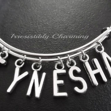 Name charm bracelet, Stainless Steel Expandable Bangle, monogram personalized item No.822