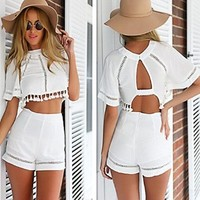 Elegant Women Girls 2 Pieces Set Overalls Crop Tops +Shorts Hot Pants White