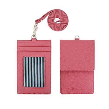 Genuine Leather Credit Card Holder Wallet with Mirror ID Badge Case with Neck Strap