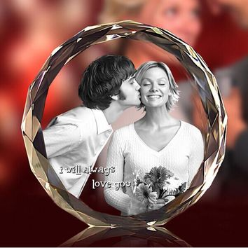 3D Laser Engraved DIY K9 Crystal Fotos Frame Round Family Wedding Photo Album Valentine's Day Anniversary Picture Frames Gift