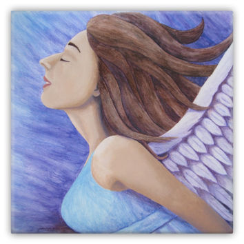 Air Goddess Flying - Metal Magnet of Angel Acrylic Paint and Watercolor Pencil Fine Art