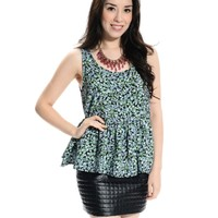 Cute Floral Sleeveless Peplum Blouse Black/Green