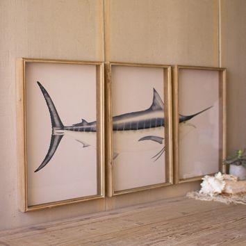 Set of 3 Marlin Print Under Glass