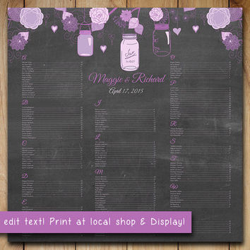 "Rustic Wedding Seating Chart Template | Mason Jar Lavender Purple Chalkboard Word Template | Editable Text | 22"" x 22"" Wedding Download"