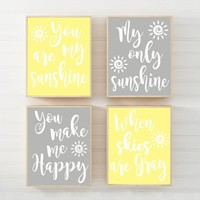 You Are My SUNSHINE Wall Art, My SUNSHINE Quote Decor, CANVAS or Print Yellow Gray Baby Girl Nursery Wall Decor, My Sunshine Quote Set of 4