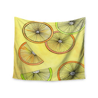 "Rosie Brown ""Lemons And Limes"" Yellow Fruit Wall Tapestry"