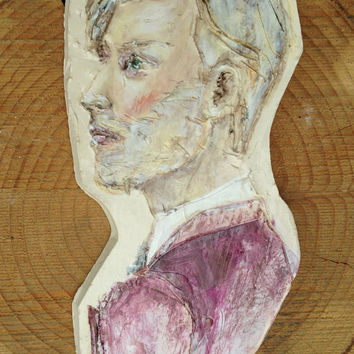 Painted  clay portrait -  Side Profile of a man  - Wall hanging ceramic sculpture - Fashion art -