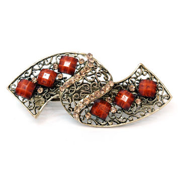 Gold Medieval Inspired Hair Barrette w/ Colored Stone Accents - Brown Color: Brown Stones