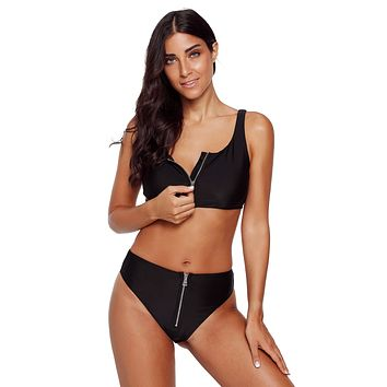 Black Zip Front 2pcs Bikini Sporty Swimsuit