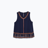 Colorful embroidered top