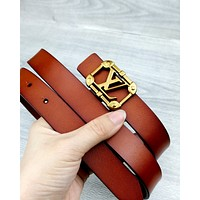 LV tide brand men and women retro wild fashion smooth buckle belt Brown