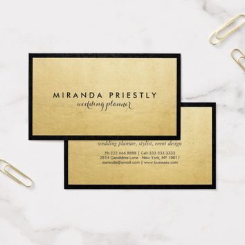 Modern Chic Black and Faux Gold Foil Luxe Creative Business Card