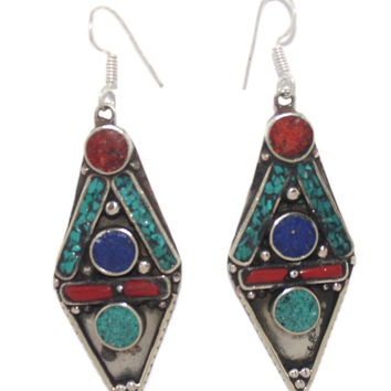Turquoise coral lapis dots earrings