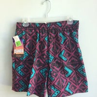 vintage 80s geometric pattern swim trunks // dead stock vintage