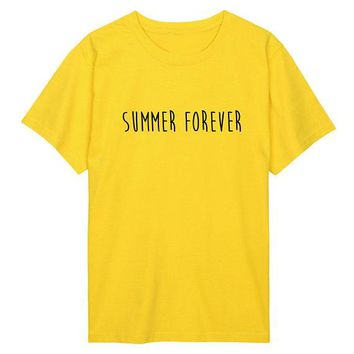 Summer Forver Tumblr T-Shirt Casual Women/Men Tee Hipster Fashion Clothing Outfits High Quality Cotton Tops yellow tshirt