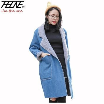 2018 Autumn Winter Jackets Women Denim Coat Long Parka Fleece Velvet Pockets Vintage Retro Outwear Denim Jackets Female Parkas
