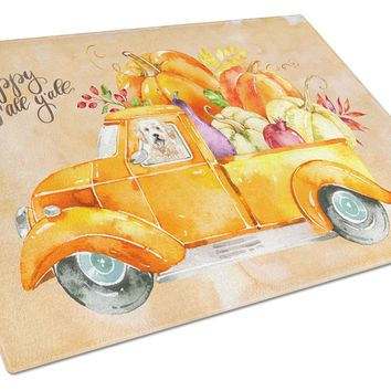 Fall Harvest Goldendoodle Glass Cutting Board Large CK2618LCB