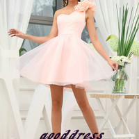 2013 Custom Pretty Pink One shoulder Handmade Flower Fold A Line Formal Short Evening/Prom/Party/Bridesmaid/Homecoming/Cocktail Dress Gown