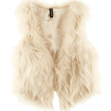 Natural White Faux Fur Vest