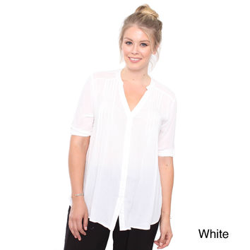 Junior's Plus Size White 3/4 Dress Shirt X98838-LW332