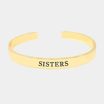 """""""Sisters"""" Gold Dipped Metal Cuff Bracelet"""
