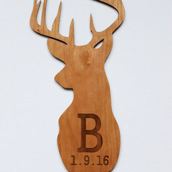 Personalized Baby Gifts, Birthday Gift, Birth Announcement, Nursery Decor, Kids Room, Wall Decor, Wall Art, Deer Antler, Wood Sign, Name