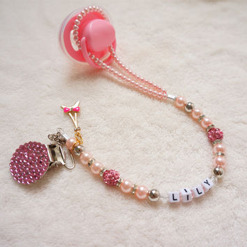 Personalised -Any name Princess Bling pink hand made pacifier clips/soother chain holder Dummy clip/Teethers clip for baby