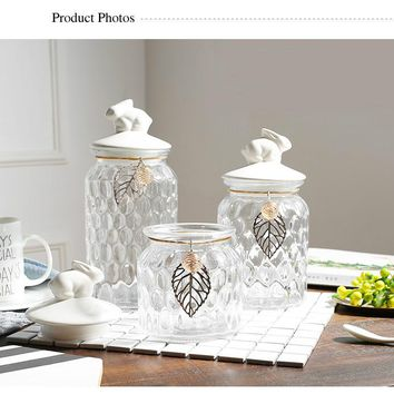 Clear Honeycomb Glass Food Canisters Gold Leaf Motif Ceramic Airtight Lid