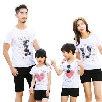 family matching clothes Parent-child Casual Outfit Family Clothing Short Sleeve Cotton T-shirt summer style Love Family Suits