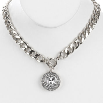 "18"" silver chunky curb link 1"" faceted crystal pendant choker necklace"