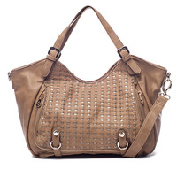Beige Ria Front Woven Satchel by Big Buddha