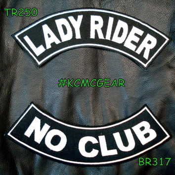 Lady Rider No Club Embroidered Patches Sew on Patches Motorcycle Biker Patch Set for Jackets