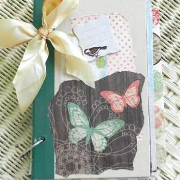journal custom boho prayer journal notebook junk journal shabby planner butterflies birds green brown