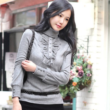 Turtleneck Ruffles Cotton Knitted Pullover Plus Size Casual Slim Pullover  For Women Autumn Winter sweater S-4XL 9678