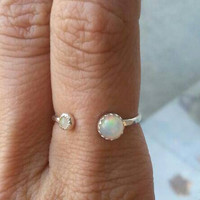 Fire Opal and Sterling Silver adjustable stacking ring- custom made to size