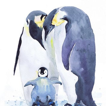Penguin , watercolor print , family of penguins , Bird with chicks,  Fine Art nursery decor, penguin baby , childrens art, Illustration