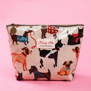 2018 New Creative Makeup Bags With Cute Dog And Cat Pattern Cosmetics Pouch For Travel Ladies Pocket Women Wash Bag Waterproof
