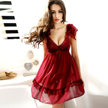 Summer Womens New Sexy Sleepwear Sleep Dress Nightgowns Female Ladies Nightdress Camison Sexy Mujer Nightgown with G-string