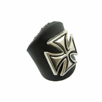 Beautiful Handmade Ajustable  Cross Rivets  Black  Leather Ring R3