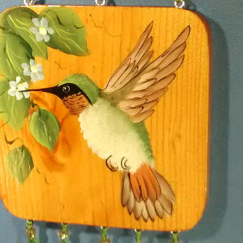 Hummingbird floral jeweled pretty plaque delicate decorative wall hanging hand painted wall decor art small room decor painting wall art