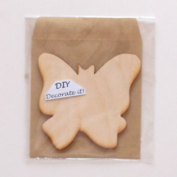 Wooden Butterfly Card With Envelope, Plain, DIY