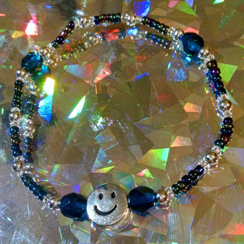 Smiley Face Seed Bead Stretch BRACELET with Dark Blue Czech Faceted Oval Beads and Metal Ball Spacers
