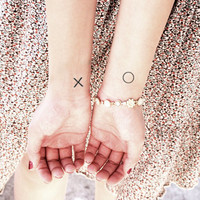 InknArt Temporary Tattoo - 2pcs tiny XO quote tattoo wrist body sticker fake tattoo wedding tattoo small tiny tattoo