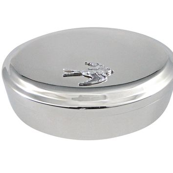 Silver Toned Sparrow Pendant Oval Trinket Jewelry Box