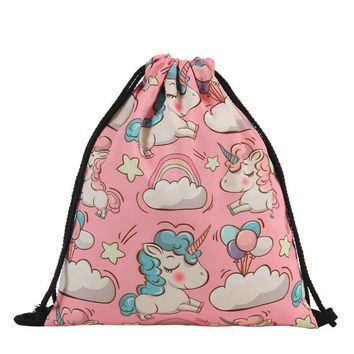 Clouds Balloons Unicorn Stars Drawstring Bags Cinch String Backpack Funny Funky Cute Novelty