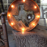 Sale! Texas State Marquee lighted signs! See Texas in lights with this rustic finish and shining star!