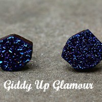 Small Peacock Blue Druzy Stone Stud Earrings